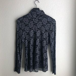 Black & Grey Long Sleeve Lace Top Size M